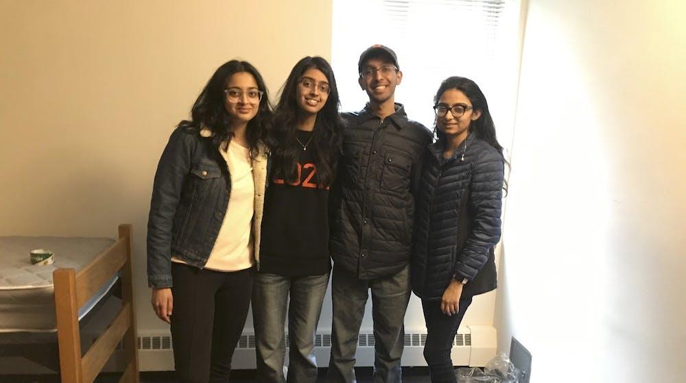 <h6>Ashira Shirali '22, Ananya Vinayak '22, Bharat Govil '22, and Manya Kapoor '22 &nbsp;(from left to right) packing: Edward Tian / The Daily Princetonian</h6>