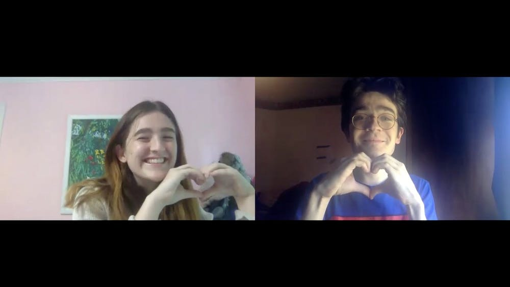Anna McGee '22 and Ben Ball '21: In love, remotely. Courtesy of Ben Ball