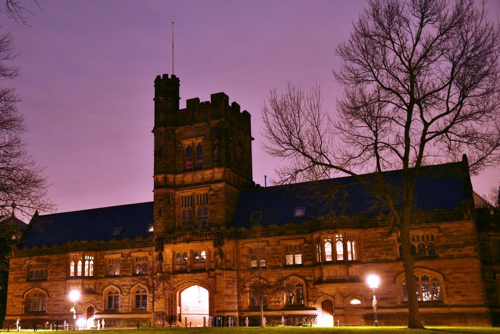 <h5>East Pyne Hall, home to Princeton's classics department, at dusk.</h5> <h6>Jonathan Ort / The Daily Princetonian</h6>
