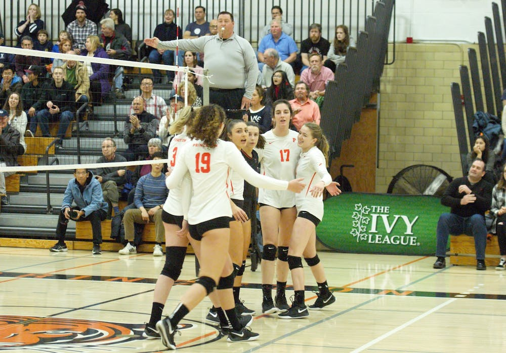 <p>Princeton huddles in the first set of the win over Yale.</p> <h6>Photo Credit: Jack Graham / The Daily Princetonian</h6>