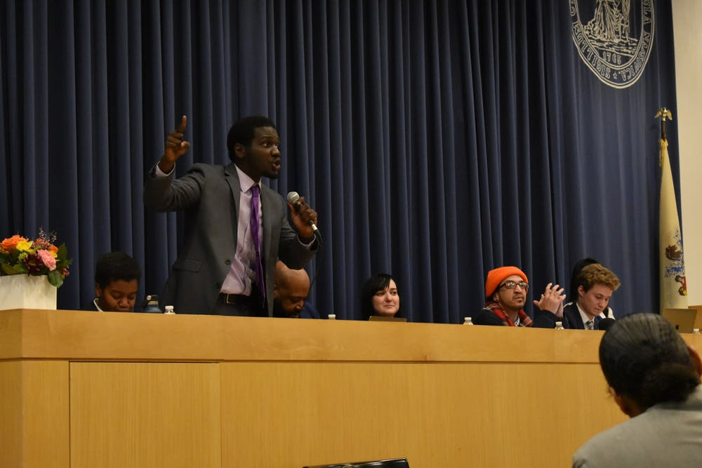 <p>Terrell Seabrooks '21 participates in the debate.</p> <h6>Photo Credit: Mark Dodici / The Daily Princetonian</h6>
