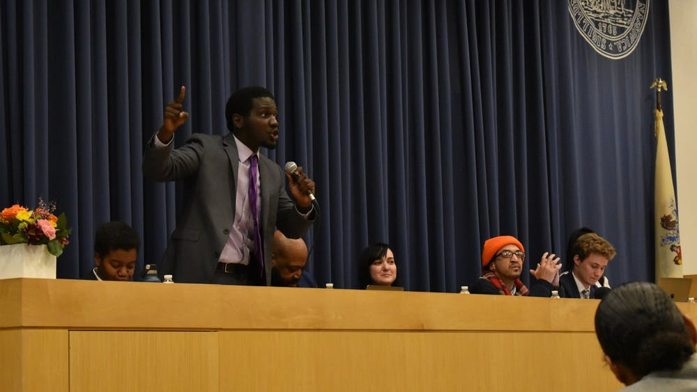 Terrell Seabrooks '21 participates in the debate. Photo Credit: Mark Dodici / The Daily Princetonian