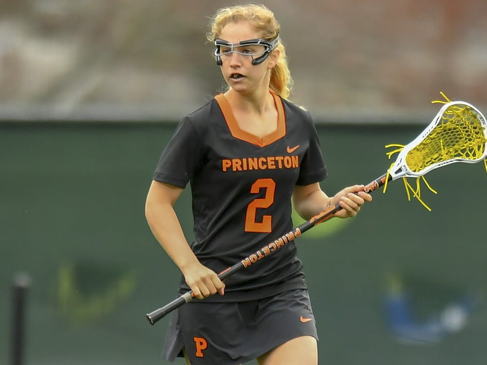 Gaby Hamburger on the field during a lacrosse game. goprincetontigers.com