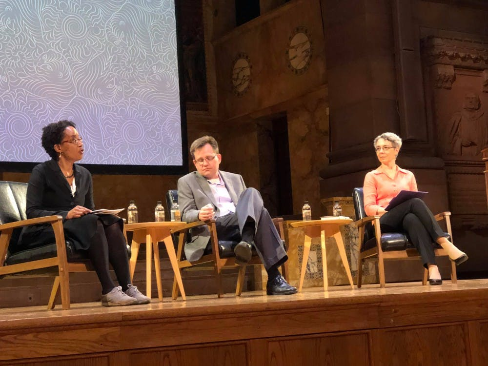 Department of Anthropology chair Carolyn Rouse and politics professor Keith Whittington discussed free speech while Vice Provost for Institutional Equity and Diversity Michele Minter moderated the discussion.