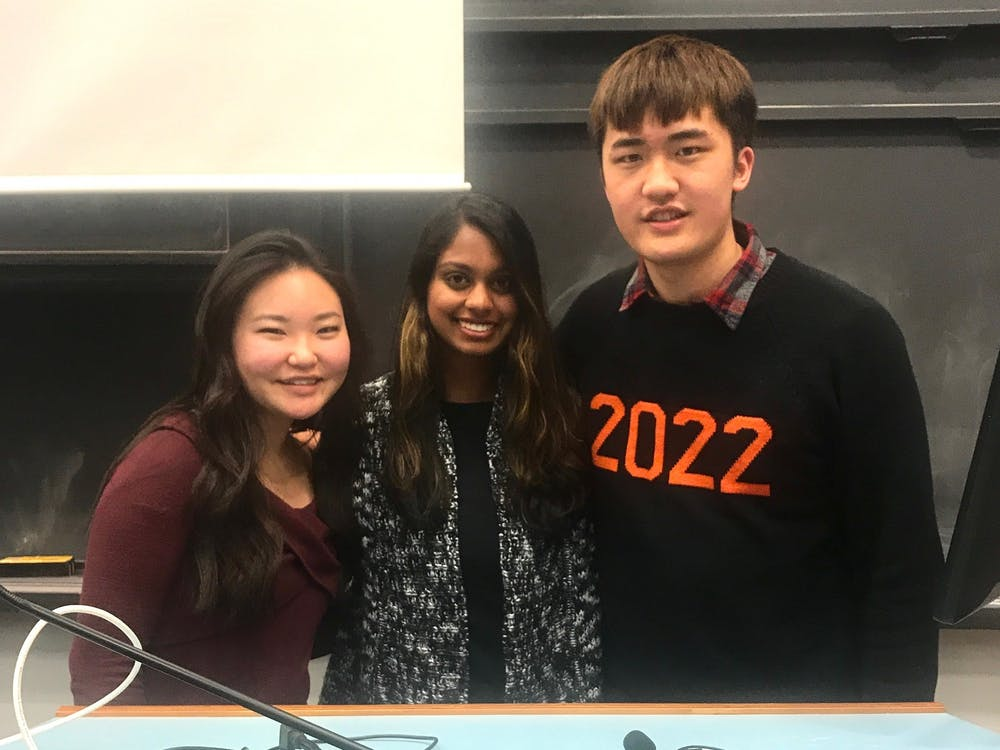 Members of the Mental Health Task Force Chitra Parikh '21, Sarah Lee '22, and Allen Liu '22 at a meeting earlier this month Photo Credit: Claire Silberman / The Daily Princetonian