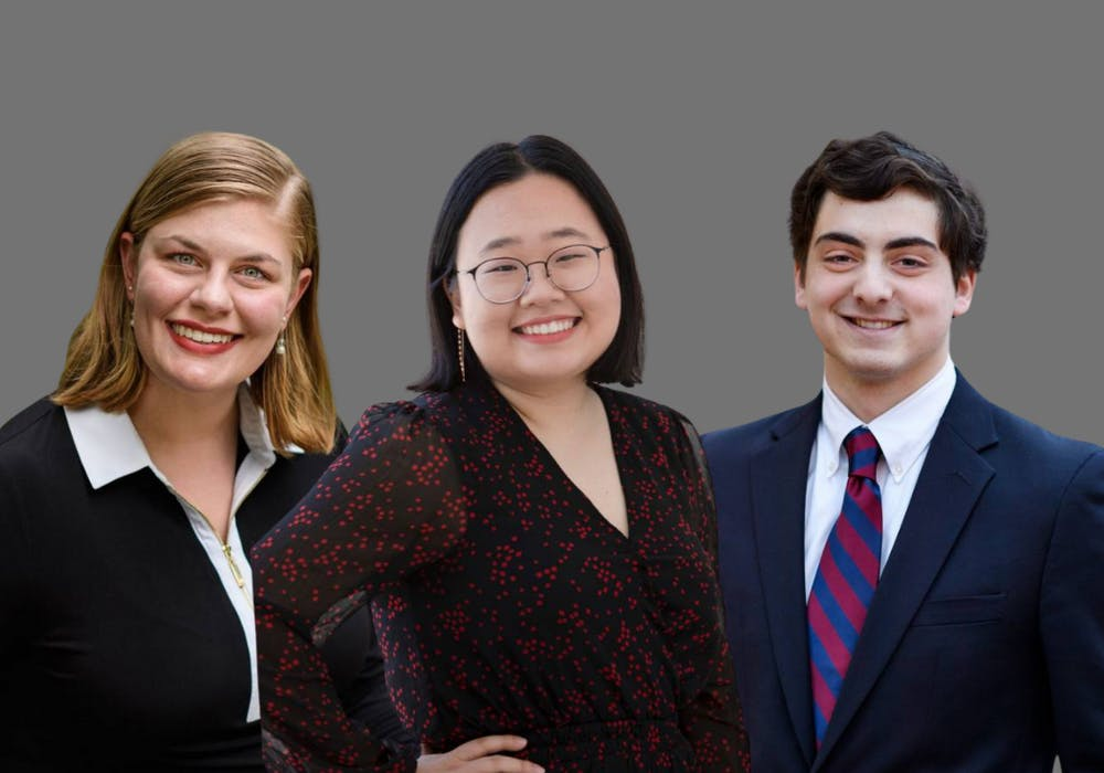 """<h5>Paige Allen '21, Amy Jeon '21, and James Packman '21 (left to right)</h5> <h6>Courtesy of Sameer A. Khan / <a href=""""https://www.princeton.edu/news/2021/02/11/princeton-university-seniors-allen-jeon-and-packman-win-pyne-prize"""" target=""""_self"""">Fotobuddy</a> and Denise Applewhite / <a href=""""https://www.princeton.edu/news/2021/02/11/princeton-university-seniors-allen-jeon-and-packman-win-pyne-prize"""" target=""""_self"""">Office of Communications</a></h6>"""