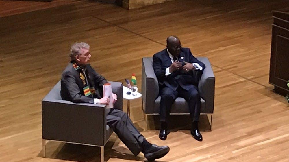 Ghanaian President Nana Akufo-Addo talks as Professor Emmanuel Kreike looks on. Photo Credit: Linh Nguyen / The Daily Princetonian