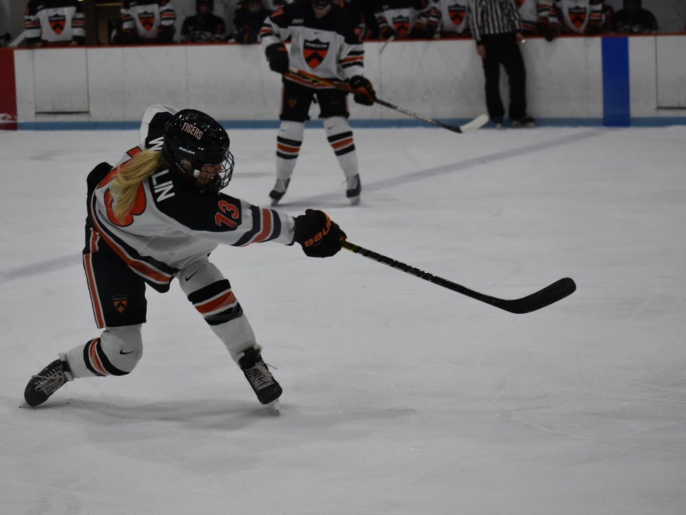 Sylvie Wallin shoots on goal. Photo Credit: Owen Tedford / Daily Princetonian