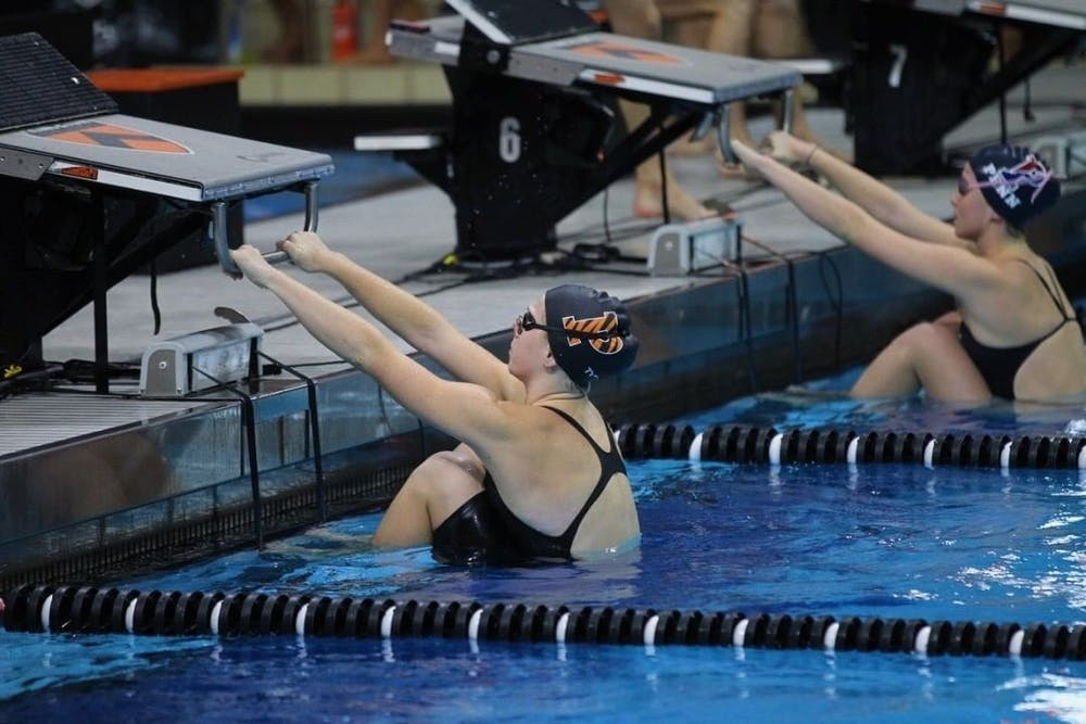 <p>Julia Brazeau '22 during a swim competition at Princeton. Photo Courtesy of Beverly Schaefer.</p>