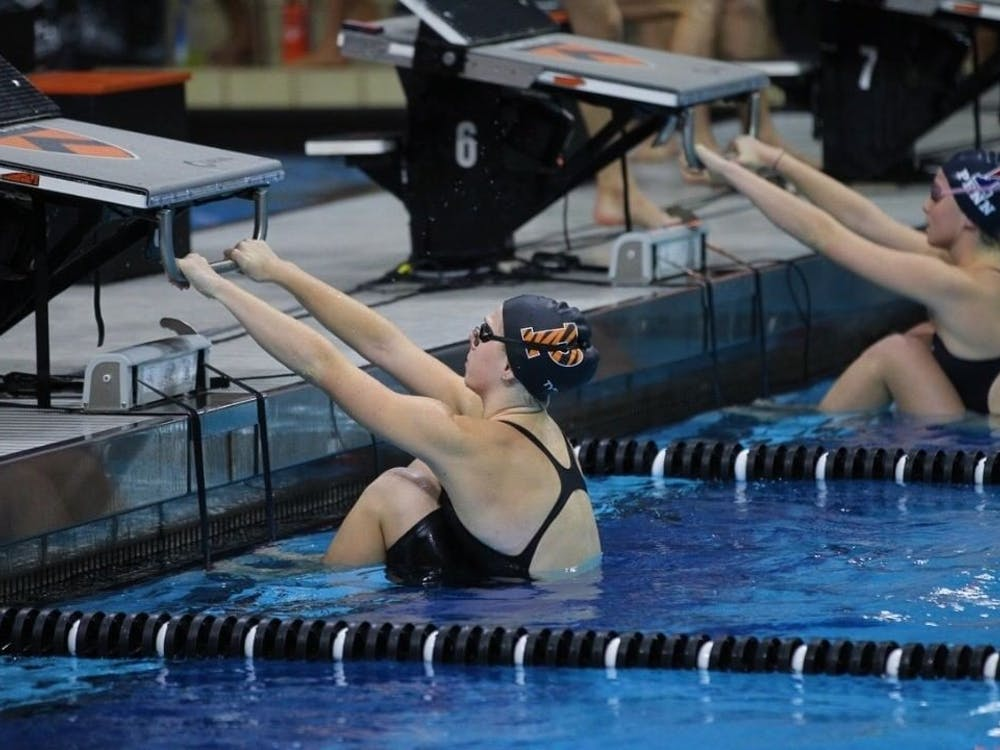 Julia Brazeau '22 during a swim competition at Princeton. Photo Courtesy of Beverly Schaefer.