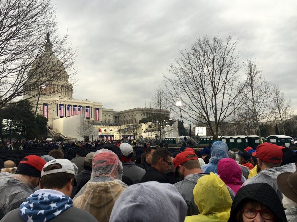 The crowd begins to fill up on the west side of the Capitol