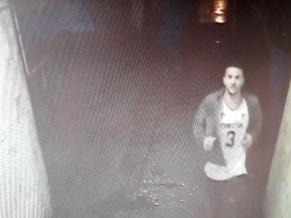 Kretteis, wearing a Princeton jersey, caught on CCTV the night of one assault.  Courtesy of Crown Prosecution Service London.
