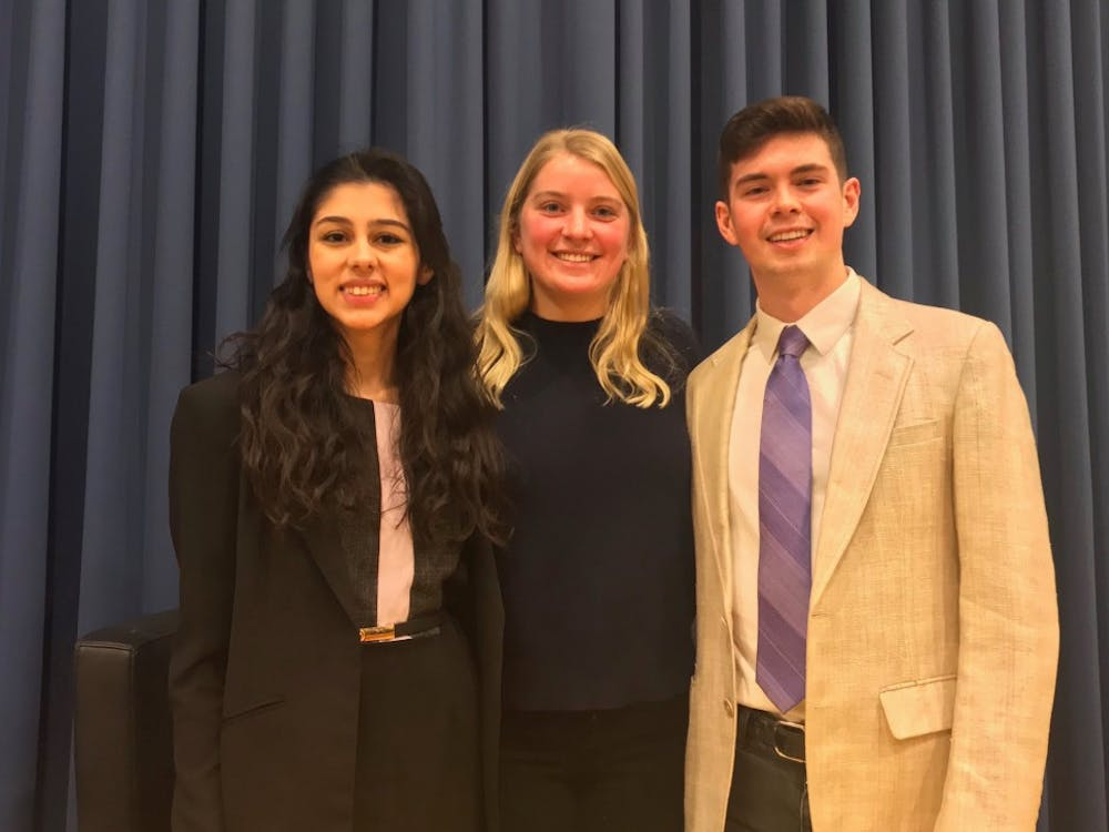 Left to right: USG Presidential Candidates, Zarnab Virk '20, Electra Frelinghuysen '20, and Nate Lambert '20
