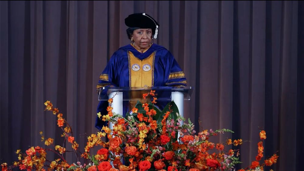 <h5>Ruth Simmons speaks at 2021 virtual Baccalaureate ceremony.</h5> <h6>Evelyn Doskoch / The Daily Princetonian</h6>