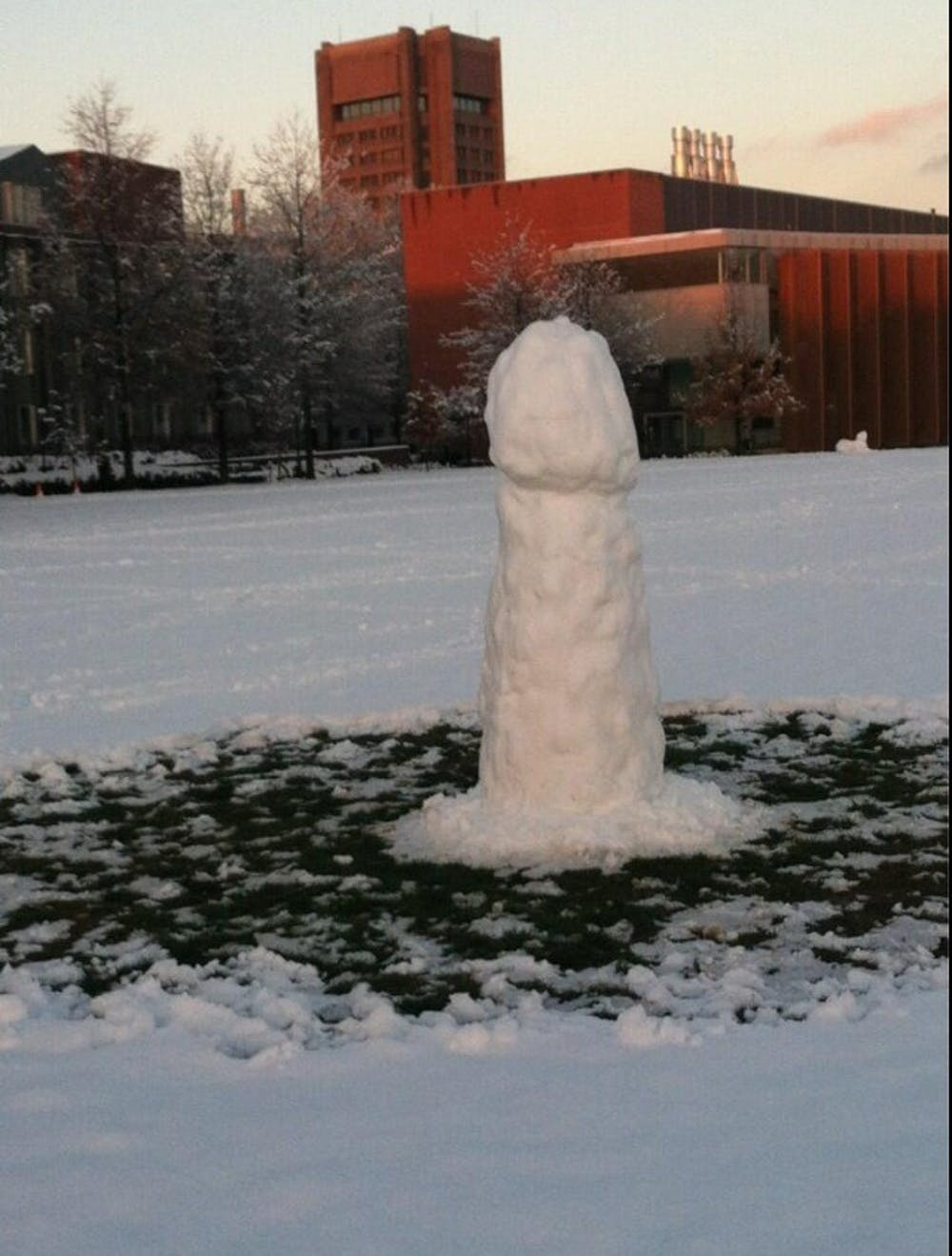 Snow penis erected on Princeton campus