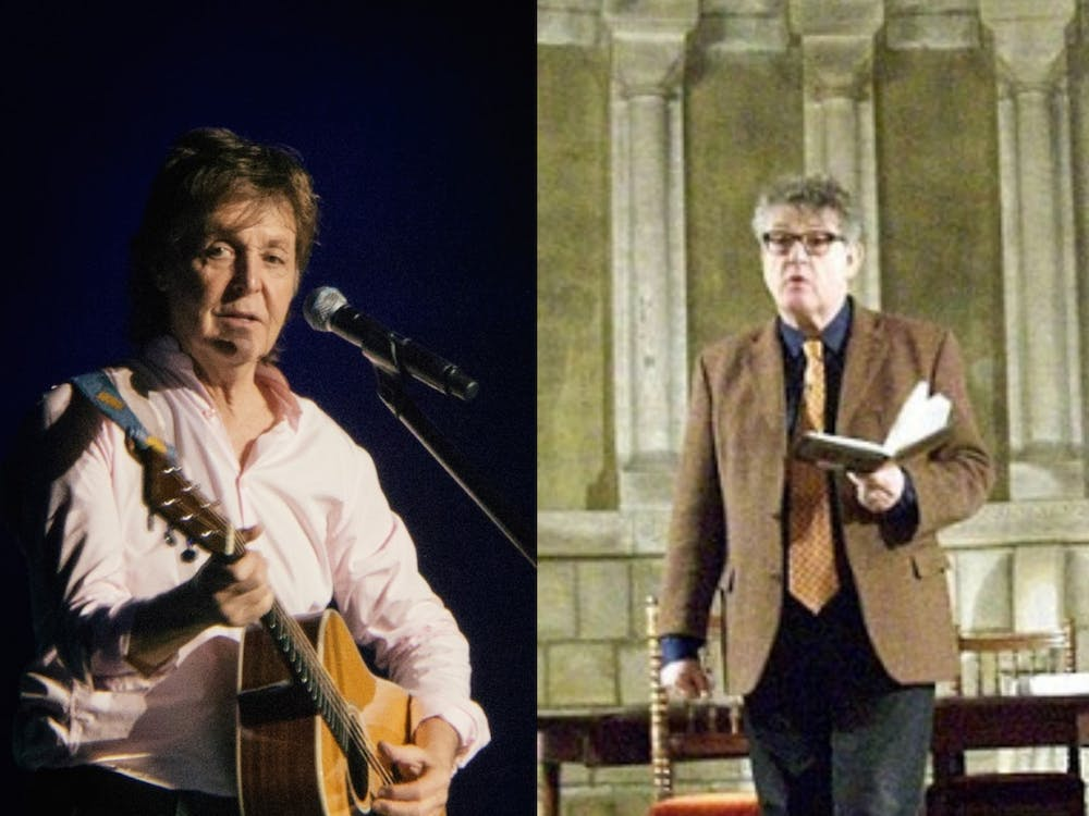 "Sir Paul McCartney, left, and Paul Muldoon, right ""Paul McCartney"" by Jerzy Bednarski / CC BY 4.0 ""Paul Muldoon"" / CC BY 2.0"