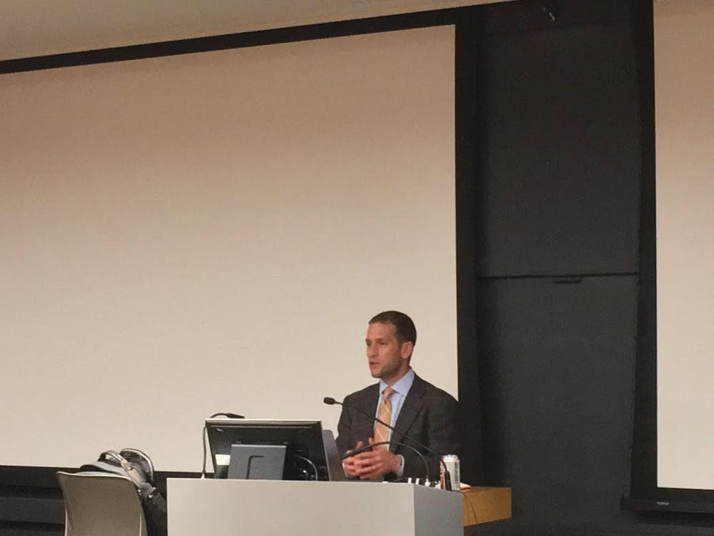 Professor Jacob Shapiro speaks on the impact of data in modern conflicts in a lecture on Thursday, Oct. 11 in the Louis A. Simpson International Building. Courtesy of Allan Shen.
