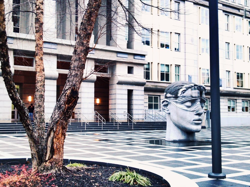 """""""Blind justice and plaza, Federal courthouse, Newark"""" by Ron Coleman / CC BY 2.0"""