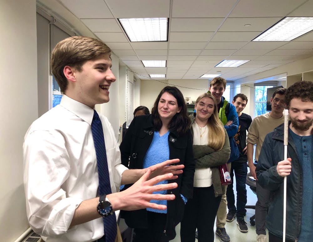<p>Incoming Editor-in-Chief Jon Ort '21 (left) with members of the 'Prince.'</p> <h6>Photo Credit: Sam Kagan / The Daily Princetonian</h6>