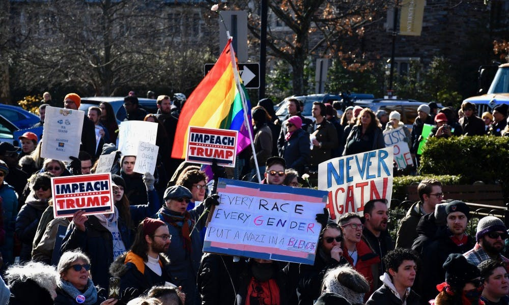 The Pride flag waves in front of Palmer Square Park on Saturday, Jan. 12.