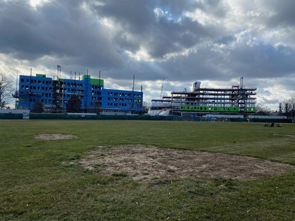 Construction of two residential colleges south of Poe Field, taken in Jan. 2020. Zachary Shevin / The Daily Princetonian