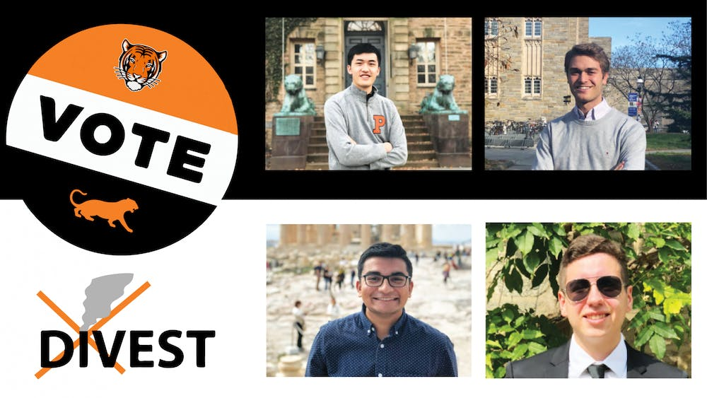 Presidential candidates Allen Liu '22 (top left) and Christian Potter '22 (top right) and Vice President candidates Ashwin Mahadevan '22 (bottom left) and Juan Nova '23 (bottom right) will appear on the ballot alongside referenda involving voting and fossil fuels. Design Credit: Harsimran Makkad / The Daily Princetonian