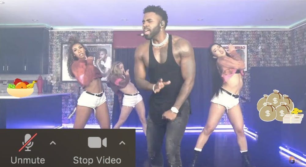 <p>Derulo dancing on mute in his kitchen, a few feet from what looked to be $80k in cash</p> <h6>Zachary Shevin / The Daily Princetonian</h6>