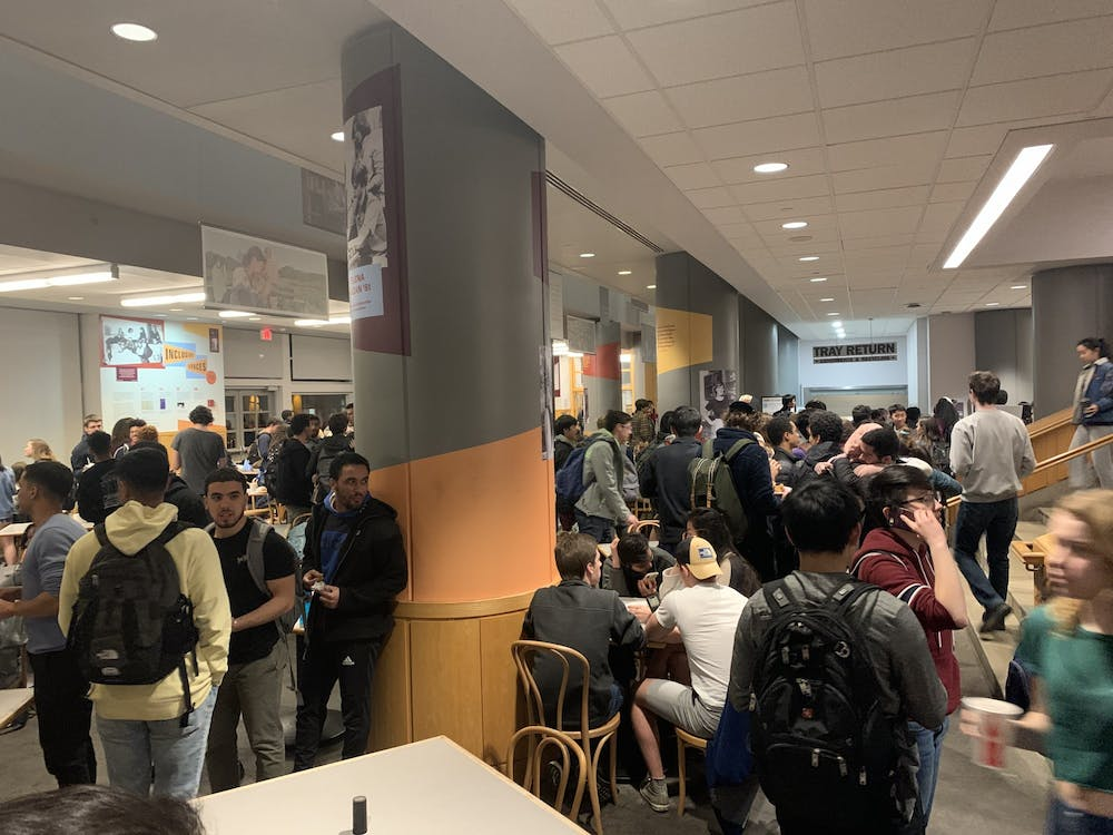 "<p>Though the University had urged students to practice ""social distancing,"" Frist Campus Center filled quickly the night it was announced classes were to be moved online for the remainder of the semester. Photo Credit: Alen Palic / The Daily Princetonian&nbsp;</p>"