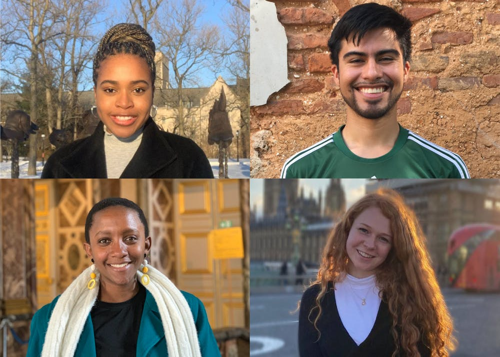 <h5>Chisom Ilogu '21, Sarah Kamanzi '21, Leopoldo Solis '21, and Lydia Spencer '21, this year's recipients of the <strong>Henry Richardson Labouisse '26 Prize.</strong></h5> <h6>Photos courtesy of Ilogu, Kamanzi, Solis, and Spencer.</h6>