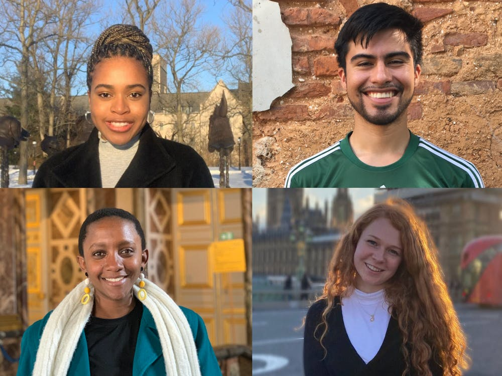 Chisom Ilogu '21, Sarah Kamanzi '21, Leopoldo Solis '21, and Lydia Spencer '21, this year's recipients of the Henry Richardson Labouisse '26 Prize. Photos courtesy of Ilogu, Kamanzi, Solis, and Spencer.