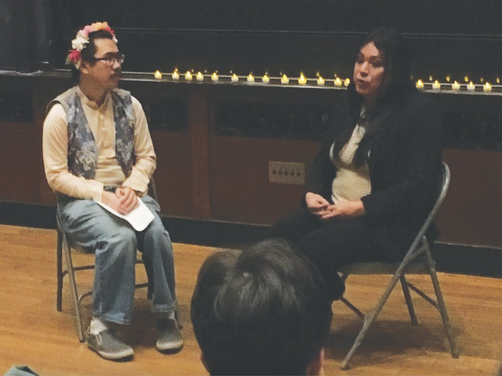 Jennicet Gutierrez, right, participates in a Q&A with Stephen Chao '19.