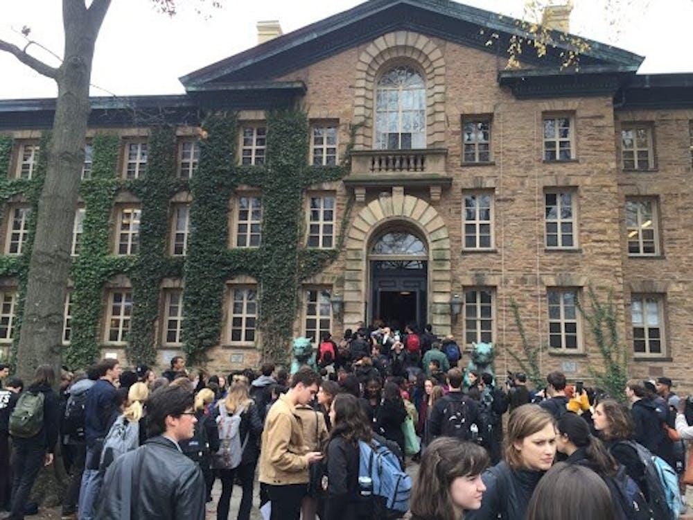 <h5>Student protestors enter Nassau Hall in Nov. 2015.</h5> <h5>Courtesy of University Press Club</h5>