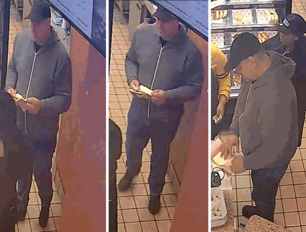 <p>Photo Source: The Princeton Police Department had shared surveillance photos of the suspect who defrauded Small World, Dunking Donuts, and Bent Spoon on Mar. 23.</p> <p>Photo Credit: Princeton Police Department / Facebook</p>