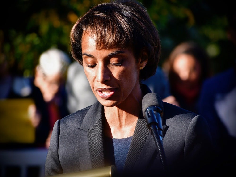 <p><em>Cecilia Rouse, Dean of the Woodrow Wilson School, speaks at the ceremony.</em></p> <h6><em>Photo Credit: Jon Ort / The Daily Princetonian</em></h6>