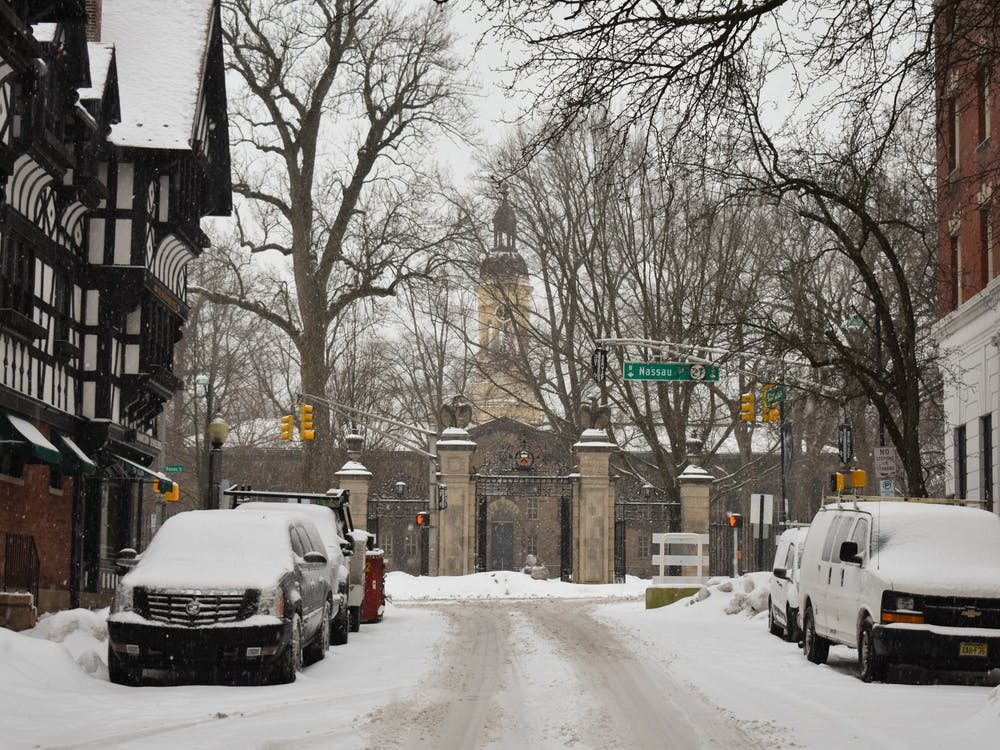 Snowy streets after a recent snowfall.  Mark Dodici / The Daily Princetonian