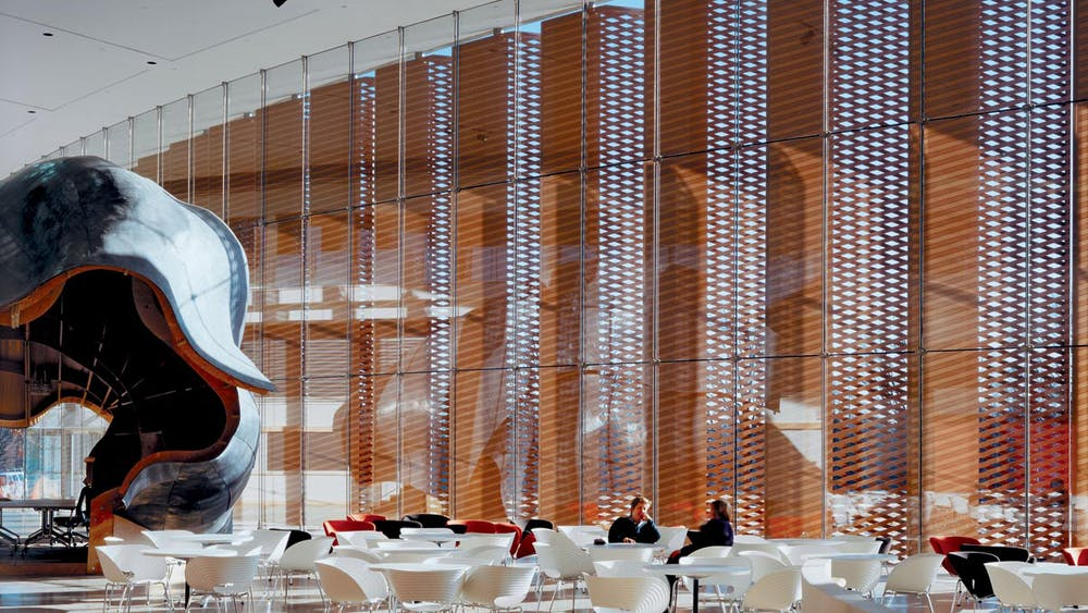 Lobby of the Lewis-Sigler Institute. LSI photo by Dante Tisi.