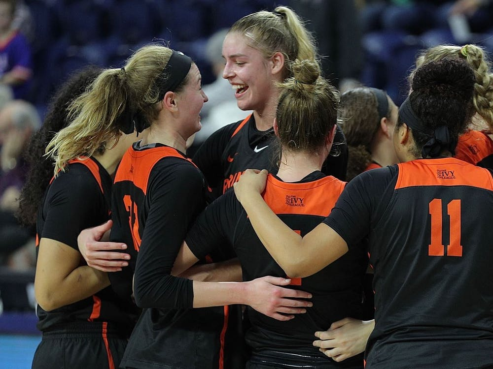 The team celebrates their 20-point victory over Penn earlier this season. Photo credit: Shelley M. Szwast / Princeton Athletics