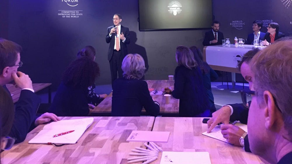 <p>Last January, President Eisgruber spoke at the World Economic Forum. Other faculty traveled to Davos this year. Photo courtesy of the Office of Communications.</p>