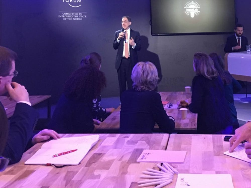 Last January, President Eisgruber spoke at the World Economic Forum. Other faculty traveled to Davos this year. Photo courtesy of the Office of Communications.