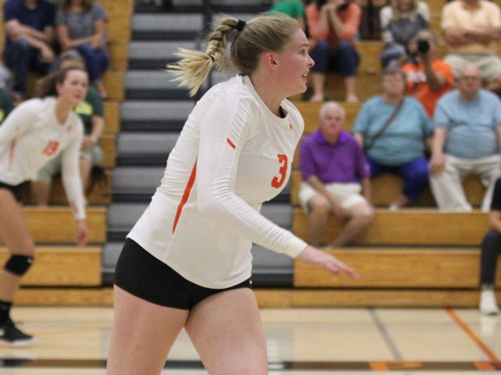 Junior middle blocker Clare Lenihan. Photo Courtesy of Beverly Schaefer / GoPrincetonTigers
