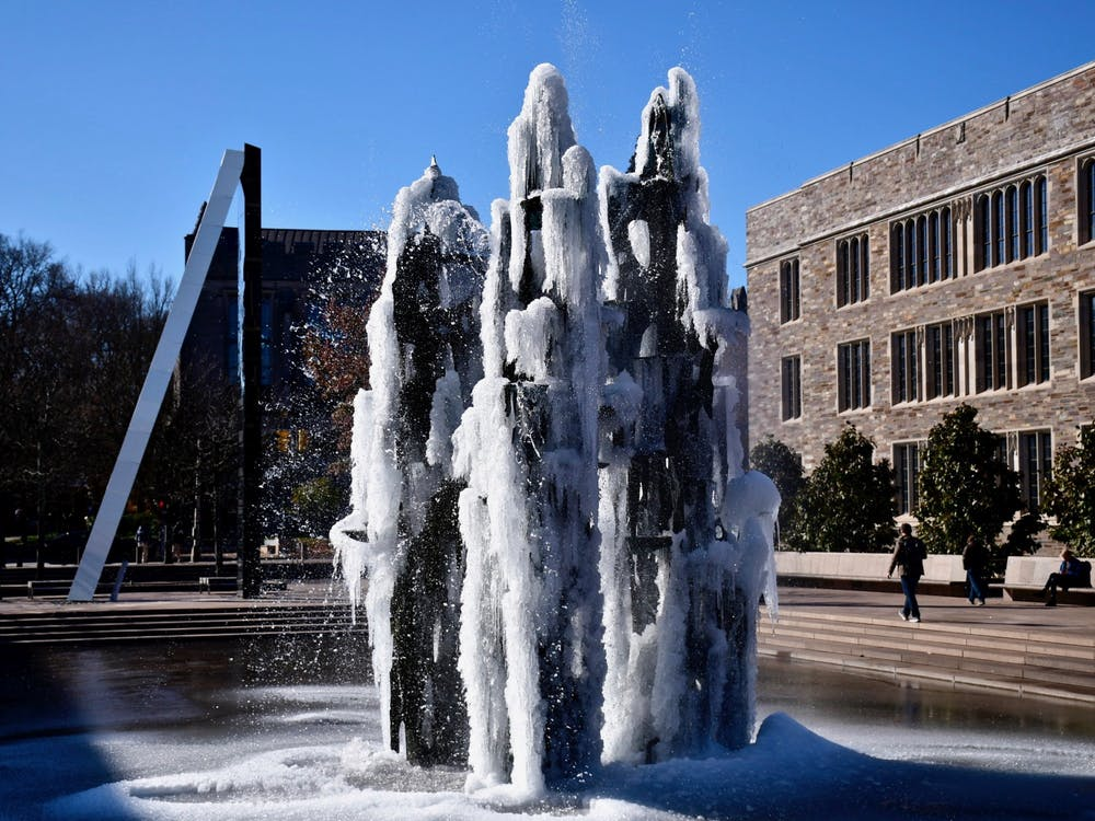 <h5>The Fountain of Freedom in Scudder Plaza.</h5> <h6>Jon Ort / The Daily Princetonian</h6>