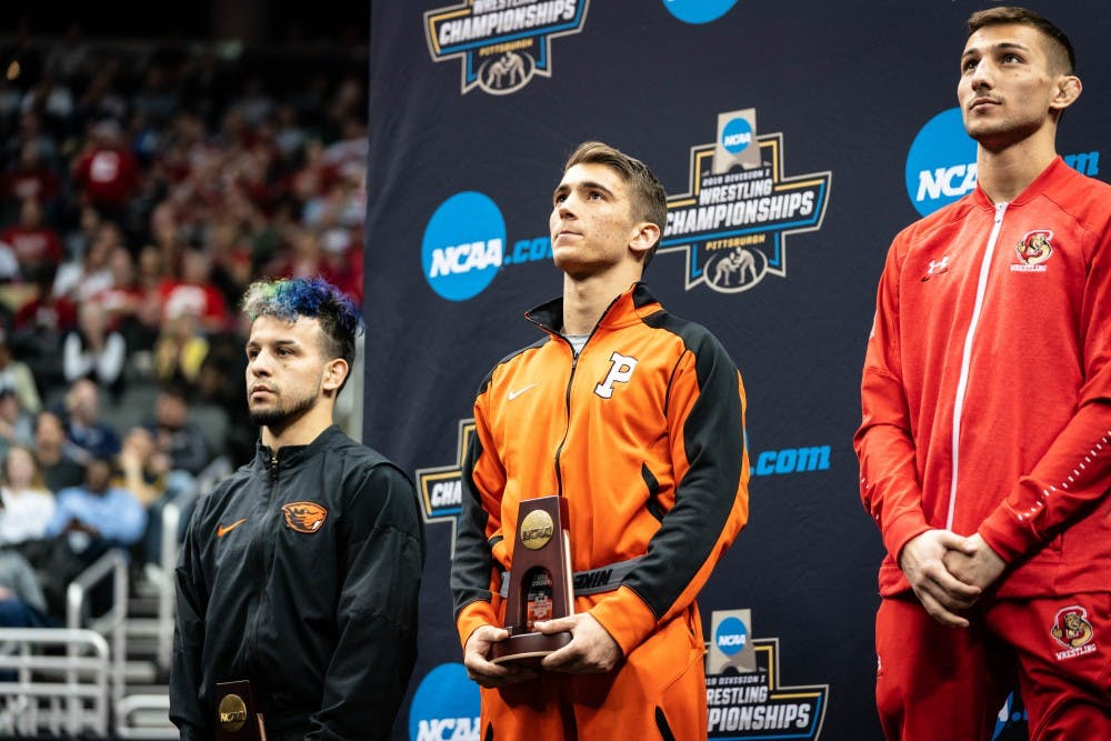 <p>Patrick Glory, the most decorated freshman in Princeton wrestling history.&nbsp;</p> <p>photo credit: Tanvi Kishore</p>