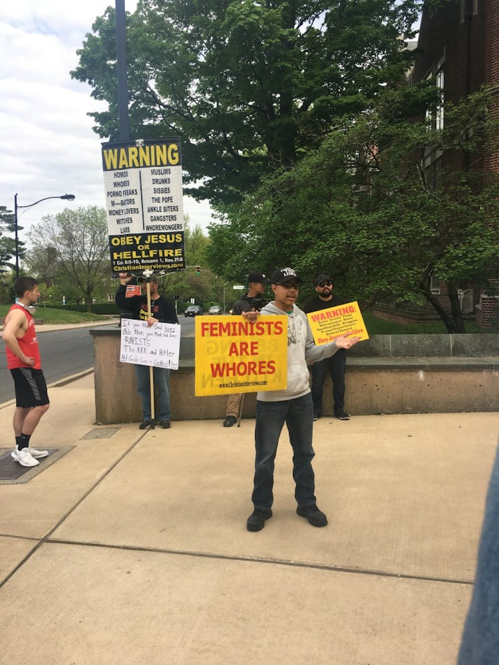 <p>A group of protestors who self-identified as Christians yelled at female students for wearing leggings.</p> <p>Marie-Rose Sheinerman / The Daily Princetonian</p>