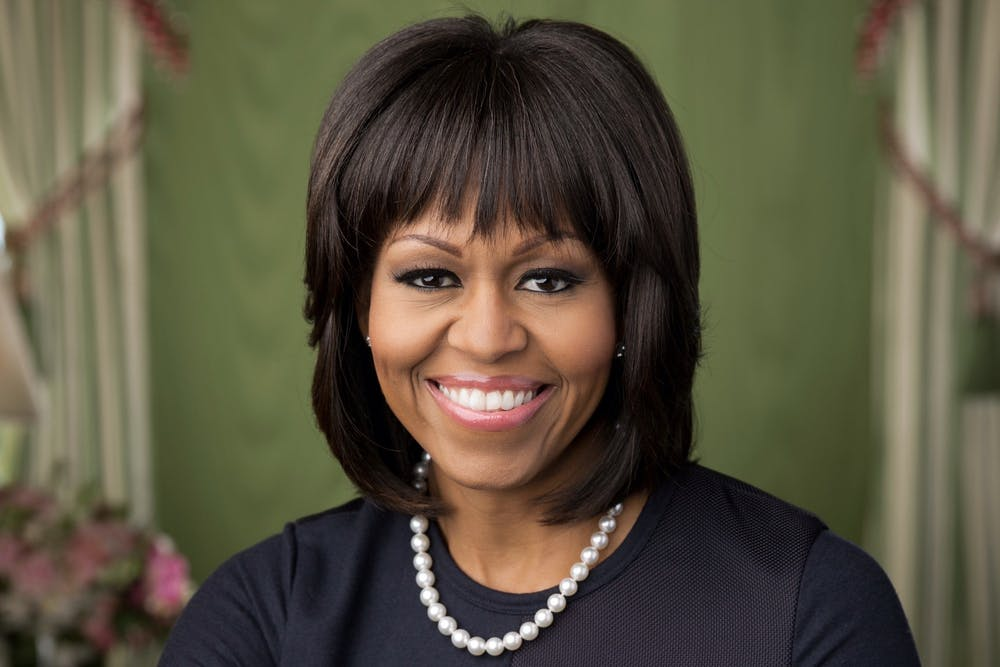 """<h5>First Lady Michelle Obama '85 posed for her official portrait in 2013.</h5> <h6>Courtesy of The White House / <a href=""""https://obamawhitehouse.archives.gov/administration/first-lady-michelle-obama"""" target=""""_self"""">Chuck Kennedy</a></h6>"""