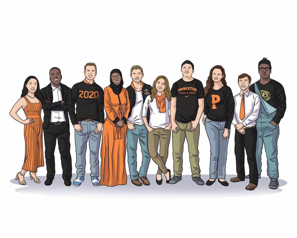 <h6>An illustration of the Spirit of Princeton award winners: Toni Xu, Jonathan Haynes, Caleb Visser, Sirad Hassan, Jacob Berman, Tabitha Belshee, Kelton Chastulik, Meghan Slattery, Bobo Stankovikj and Jackson Artis (left to right).</h6> <h6>Photo Credit: the Office of the Dean of Undergraduate Students via Office of Communications</h6> <p><br></p>
