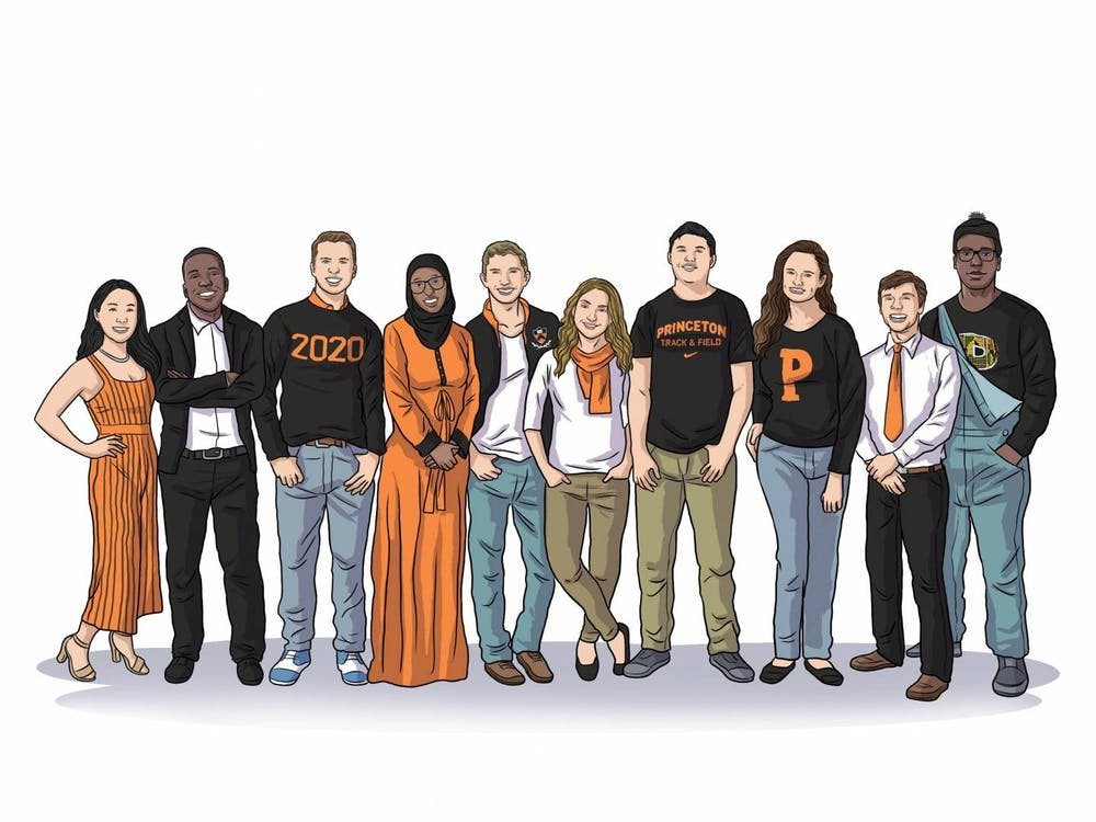 An illustration of the Spirit of Princeton award winners: Toni Xu, Jonathan Haynes, Caleb Visser, Sirad Hassan, Jacob Berman, Tabitha Belshee, Kelton Chastulik, Meghan Slattery, Bobo Stankovikj and Jackson Artis (left to right). Photo Credit: the Office of the Dean of Undergraduate Students via Office of Communications