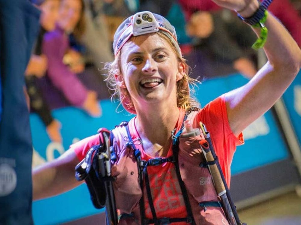 Caption: Clare Gallagher after her win at the 2017 Courmayeur Champex Chamonix Ultramarathon.  Credit: Trail Runner Magazine
