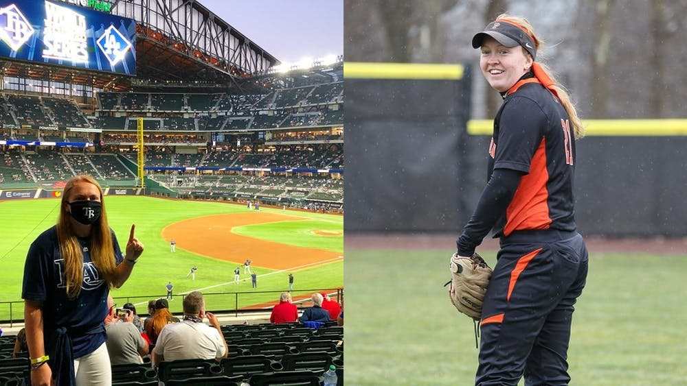 Dockx '18 at the 2020 World Series and during her time at Princeton.  Courtesy of GoPrincetonTigers.com