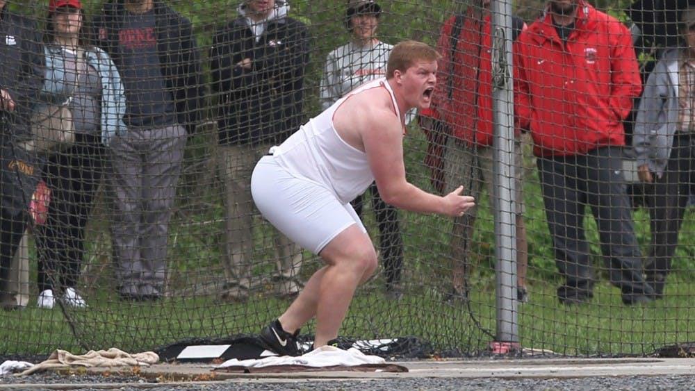 <p>Senior All-American Adam Kelly's second-straight hammer throw title earned him the title of co-Most Outstanding Field Performer of the Meet.</p> <p>photo credit: GoPrincetonTigers</p>