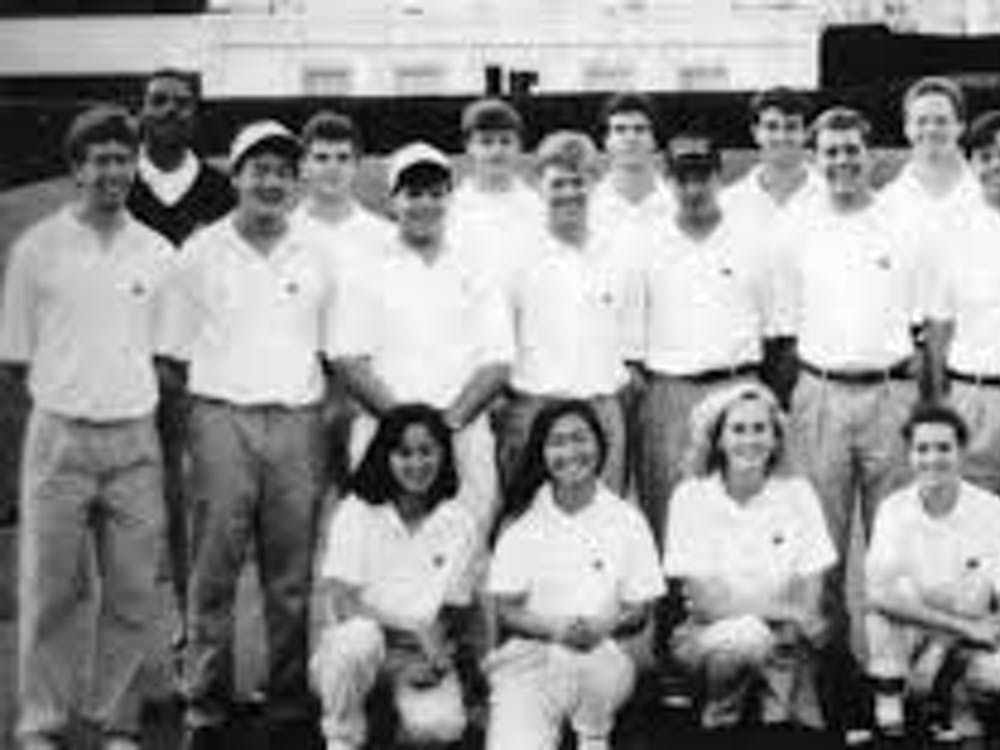 A look at the first Princeton women's golf varsity team posing with the men's team in their 1991 team photo.